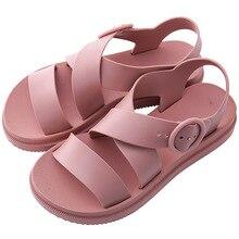 Women Flat Sandals Gladiator Open Toe Buckle Soft Jelly