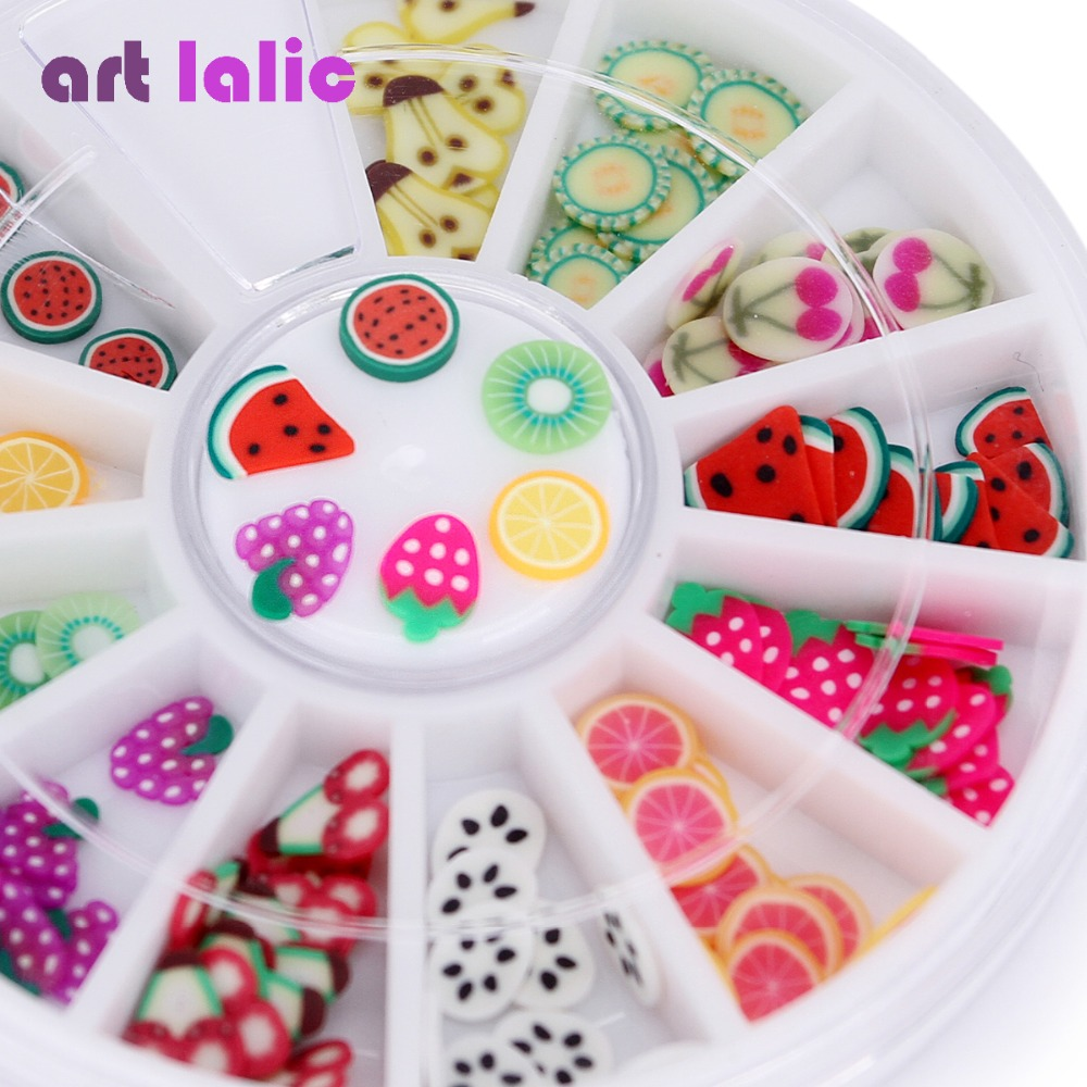 Nail Art 3D Polymer Clay Tiny Fimo Fruit slices Wheel Nail Art DIY Designs Wheel Nail Art Decorations Wholesale 24pcs air clay fimo polymer plasticine modelling clay light diy soft creative handgum toys diy plasticine clay learning toys
