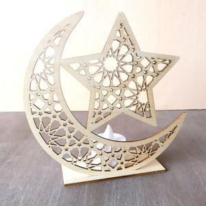 Image 4 - 1Pcs Led Light Ramadan Wooden Eid Mubarak Decoration Home Moon Islam Mosque Muslim Wooden Plaque Festival Party Supplies Gifts