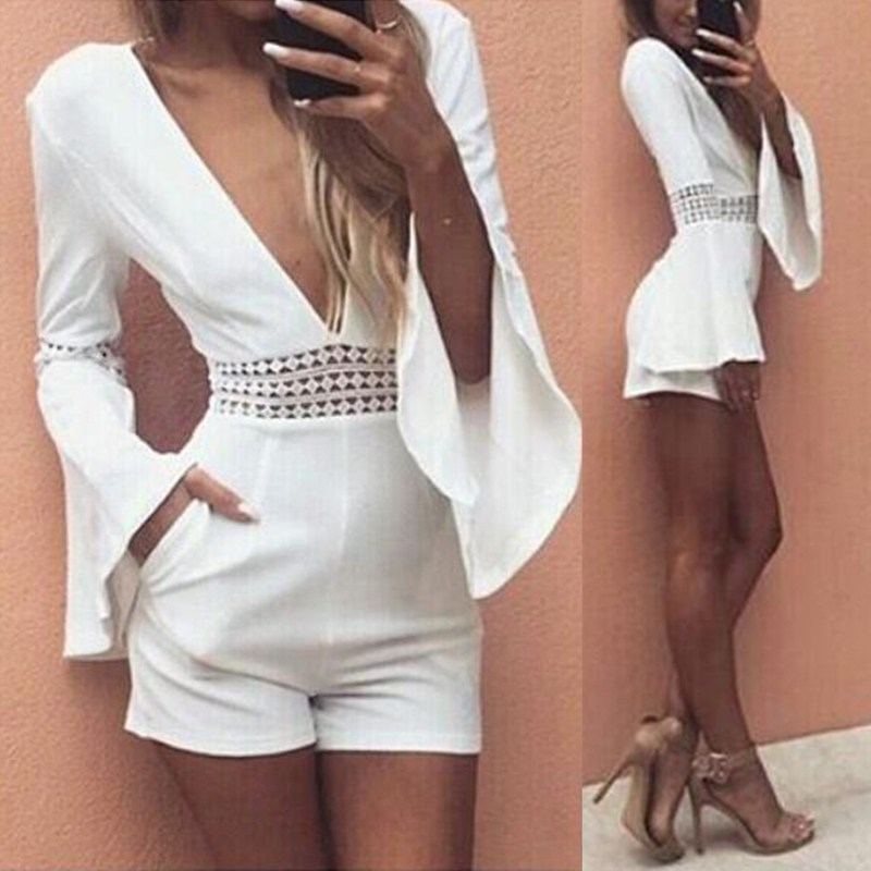 White Short Sexy Rompers 2018 Summer Women Waist Crochet Lace   Jumpsuit   Deep V Neck Long Flare Sleeve Beach Playsuits Overalls
