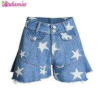 Stile di estate a vita alta pantaloncini volant jeans femme stars stampa flare shorts in denim delle donne casuali delle signore jean shorts
