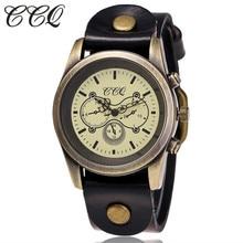 CCQ Model Vogue Classic Cow Leather-based Watch Informal Ladies Vintage Bronze WristWatch Quartz Watch Relogio Feminino Present C87
