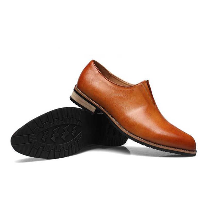 YIGER nouveaux hommes Derby chaussures robe chaussures homme britannique rétro bout pointu sans lacet chaussures décontractées respirant hommes chaussures basses affaires 269