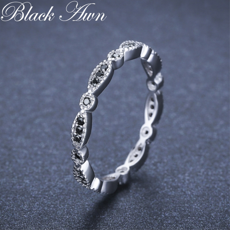 Black Awn Casual 2g 925 Sterling Silver Fine Jewelry Trendy Engagement Black Spinel Leaf Women's Wedding Ring Bijoux Femme G013