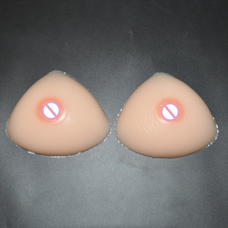 600g/pair Semi-full Triangle Breast Forms B cup False Silicone Boobs Mastectomy Crossdresser Artificial Breast With Adhesive b cup realistic silicone artificial breast forms crossdresser silicone false boobs for mastectomy transgender 500g pair