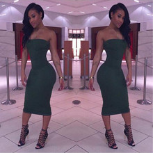 Green 2017 Work Summer Style Dresses One Shoulder Halter Women Pencil Dress Sexy Club Bodycon Party Dresses New Arrival Vestidos