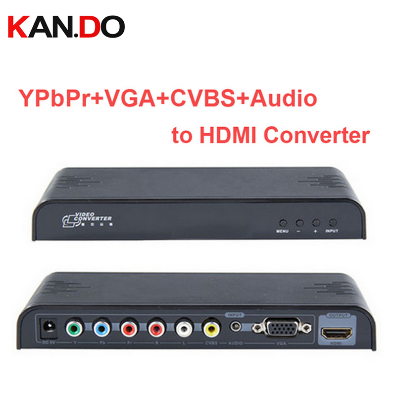 353 video conveter YPbPr+VGA+CVBS+Audio to HDMI Converter VGA CVBS YPbPr to HDMI Converter video audio Adapter цена и фото