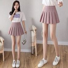 Клетчатое короткое платье для девочек, плиссированная теннисная юбка с высокой талией, форменное нижнее белье, шорты, юбка для тенниса и бадминтона