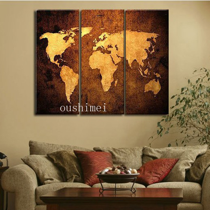 Handpainted 3 Piece Modern Abstract Home Decor World Map
