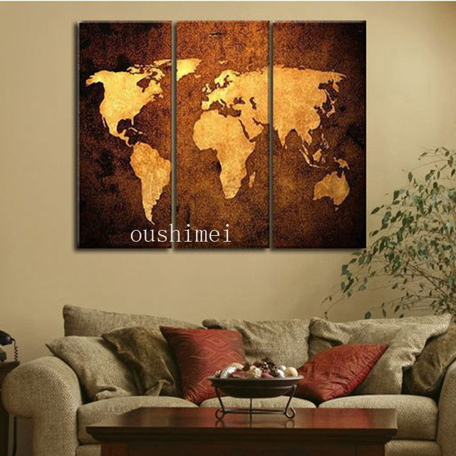 Home Decor World | Handpainted 3 Piece Modern Abstract Home Decor World Map Pictures