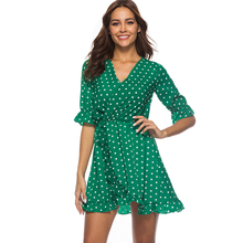 Women V Neck Chiffon Dress Half Sleeve Summer Mini Dress Ruffles Polka Dot Sexy Beach Dresses Vestidos