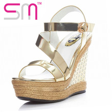 Genuine Leather Women's Sandals Gladiator Sandals Patent Wedge Platform Summer Shoes Woman Cow Leather Mixed Colors Women Shoes