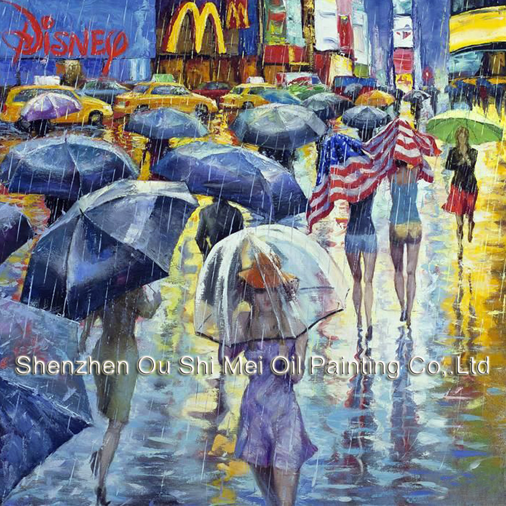 Handgemalte New York Rain Street Landschaft Ölgemälde Regenschirm - Wohnkultur