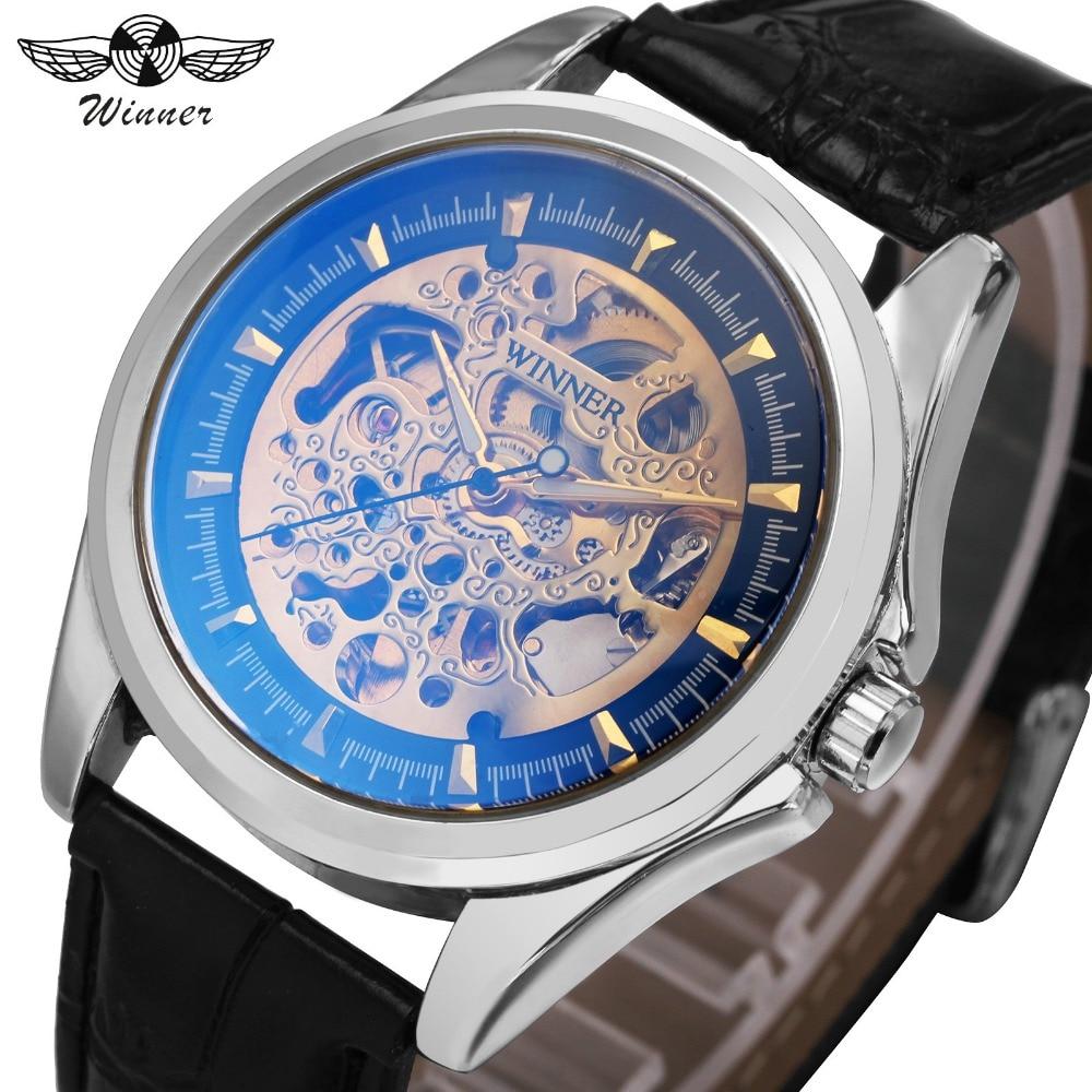 3b856775fe7 Automáticas Homens Mecânicos do Relógio Esqueleto VENCEDOR Royal Blue ray  Dial Pulseira de Couro Mãos Luminosas Mens Relógios Top Marca de Luxo em  Relógios ...