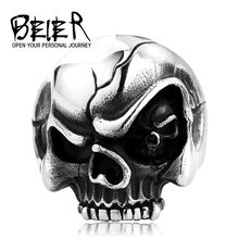 BEIER Skull Eye Evil Personlity Biker Stainless Steel Rings Man Punk Gothic Style Jewelry BR8-483US Size(China)