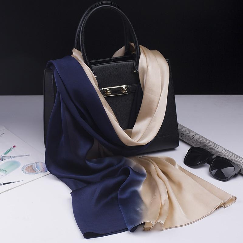 2018 marca de lujo bufanda de seda del mantón de moda mujeres suaves bufanda de seda del verano envuelve pañuelo señora pashminna pareo playa foulard