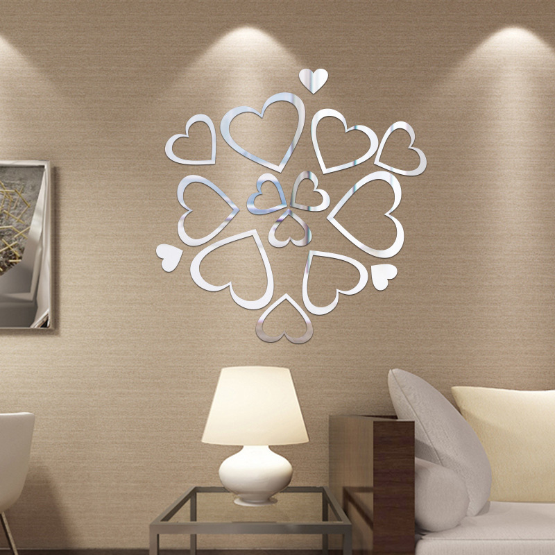 Love combination Mirror wall sticker Acrylic 3D self adhesive wall sticker Living room bedroom wall wedding decoration painting in Wall Stickers from Home Garden