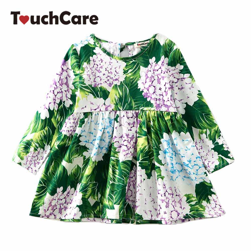 Cute Floral Printed Baby Girls font b Dresses b font Spring Autumn Long Sleeve Bow Princess