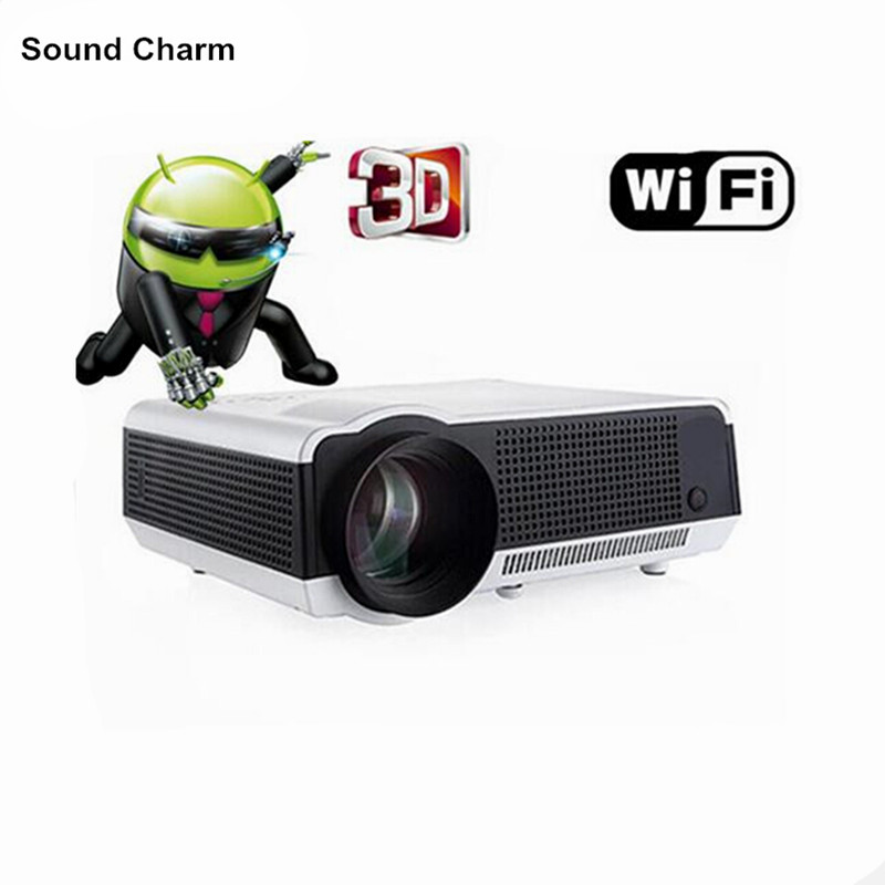 2017 Built-in Android 4.4 Wifi 1080P Smart LED Full HD 3D Video Projector Wifi digital Multimedia Home cinema TV Proyector wzatco 5500lumen android smart wifi 1080p full hd led lcd 3d video dvbt tv projector portable multimedia home cinema beamer