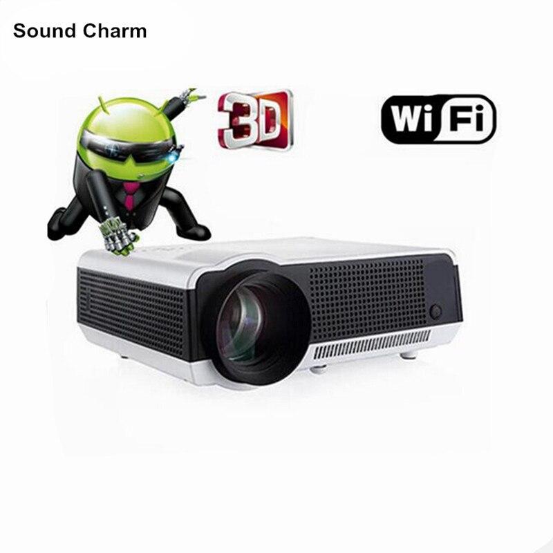 2017 intégré Android 4.4 Wifi 1080 P LED intelligent Full HD 3D projecteur vidéo Wifi numérique multimédia Home cinema TV Proyector