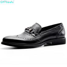 2019 Autumn New Genuine Cow Leather MenS Shoes Luxury Fashion Low To Help Breathable Non-Slip Brogue Men Dress
