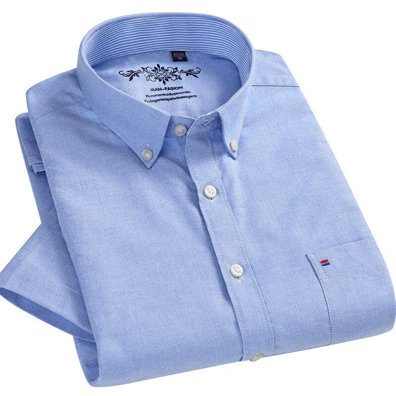 New Summer Oxford Shirt Men 70%Cotton Short Sleeve Casual Camisa Social Shirt White Blue Regular Fit Male Blouse Chemise Homme