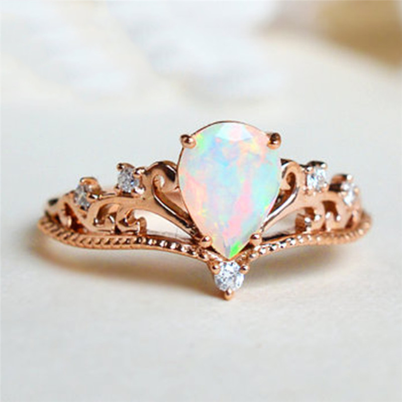 ROXI 2018 Lovers Crown Ring Zircon Elegant Fire Opal Pear Engagement Ring Wedding Band Rings for Women Jewelry Dropship bijoux Кольцо