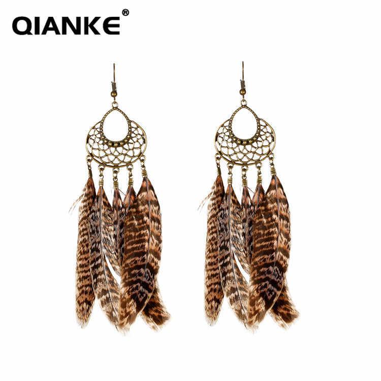 QIANKE bohemian big feather drop earrings for women boho long ethnic  Leopard Print dangle earrings fashion d6ebc64f31cf