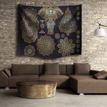 Oro negro Elefante Indio Mandala Tapiz 153X102 cm Colgando de Poliéster Throw Blanket Colcha Estera Habitación Decoración Suministros