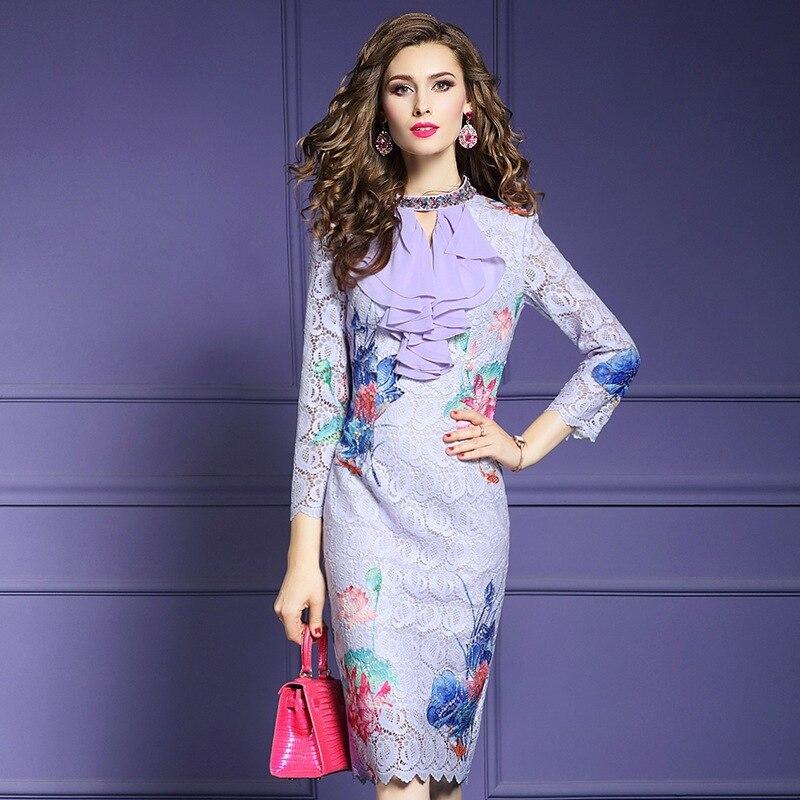 Perles Vintage Taille Robe Crayon Out Qualité Ciel Supérieure Plus Parti 2019 Spring Femmes La Robes Ruches Hollow Nouveau Dentelle lavande Pu zqawa1g4