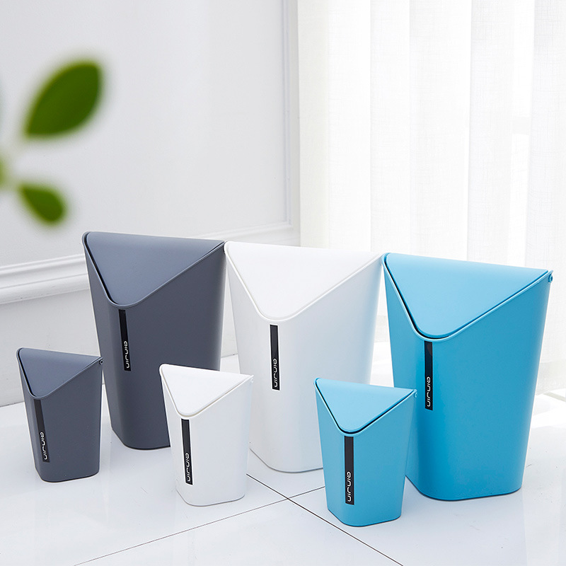 Creative Fashion Home Use/Office Hooded Desktop Mini Plastic Trash Can Kitchen Bathroom Corner Waste Bins Cleaning Storage Box