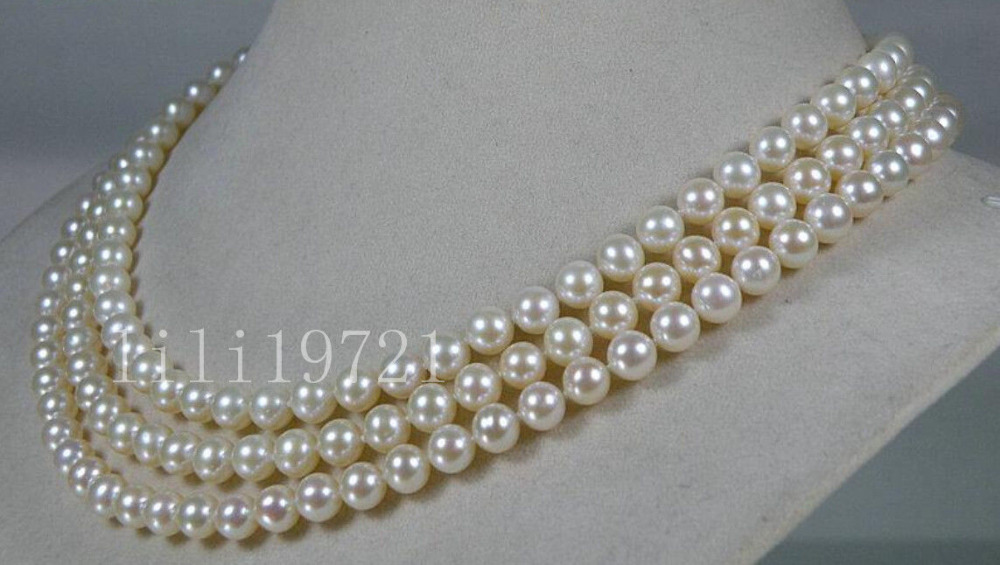 AAA+ 6.5-7mm round white akoya sea pearl necklace 50AAA+ 6.5-7mm round white akoya sea pearl necklace 50