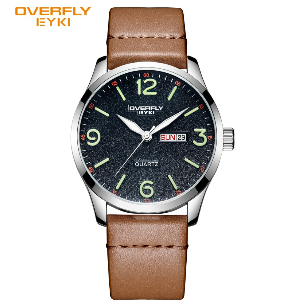 EYKI Brand Men Sport Watches Calendar Display Watch Male Leather PU Luminous Pointer Wrist Watch Waterproof Relogio Masculino