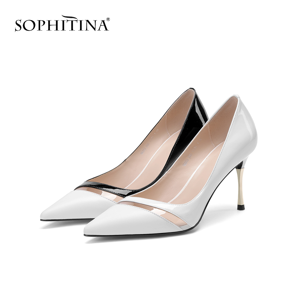 SOPHITINA Fashion High Thin Heels Pumps Pointed Toe High Quality Cow Leather Office Shoes Elegant Hot