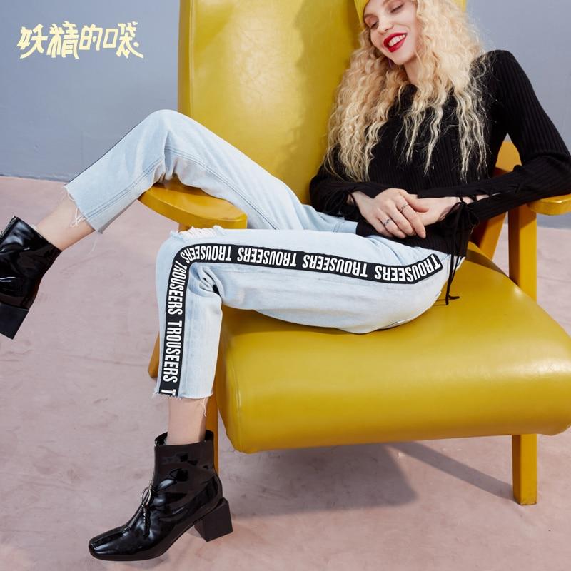 ELF SACK Autumn New Woman   Jeans   Casual Cotton Straight Softener Women Pants Mid Loose Denim Ankle-Length Pants Femme Bottoms