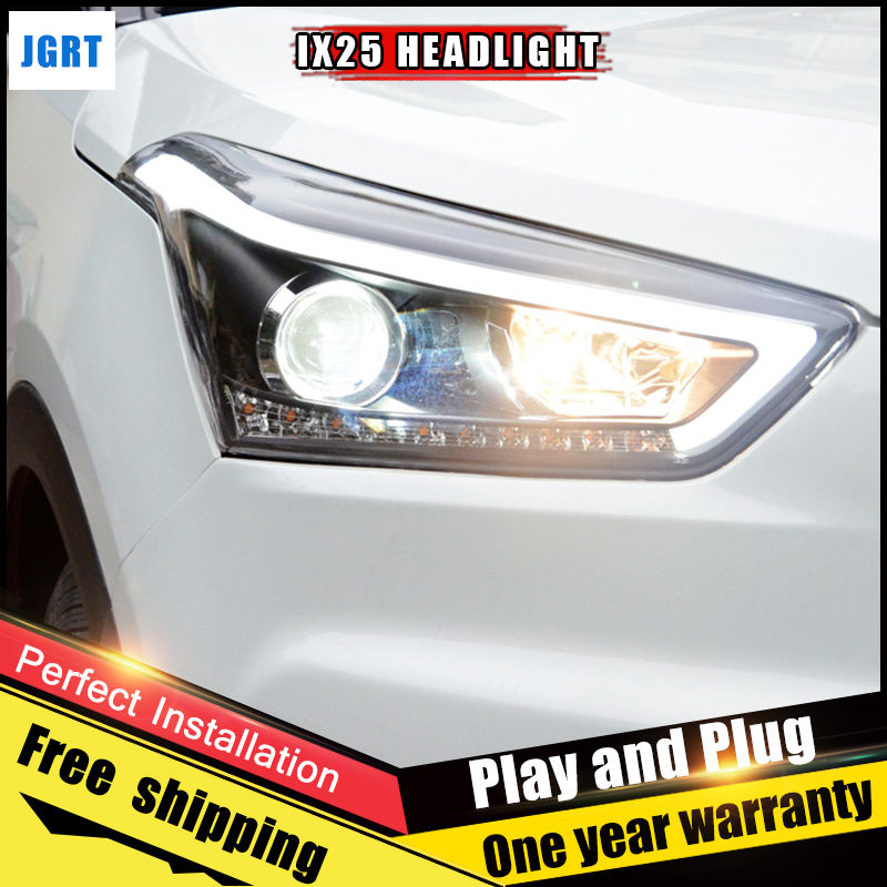 2PCS Car Style LED headlights for Hyundai ix25 2015 for IX25 head lamp LED Lens Double Beam H7 HID Xenon bi xenon lens hireno headlamp for 2015 2017 hyundai ix25 crete headlight headlight assembly led drl angel lens double beam hid xenon 2pcs