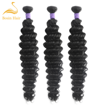 Bosin hair Malaysia hair deep wave bundles 3 bundles hair extension 100% remy hair