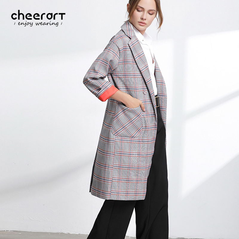 Cheerart England Plaid Trench Coat Women Long Classic Autumn Coat Cardigan British Style Overcoat Duster Coat 2017