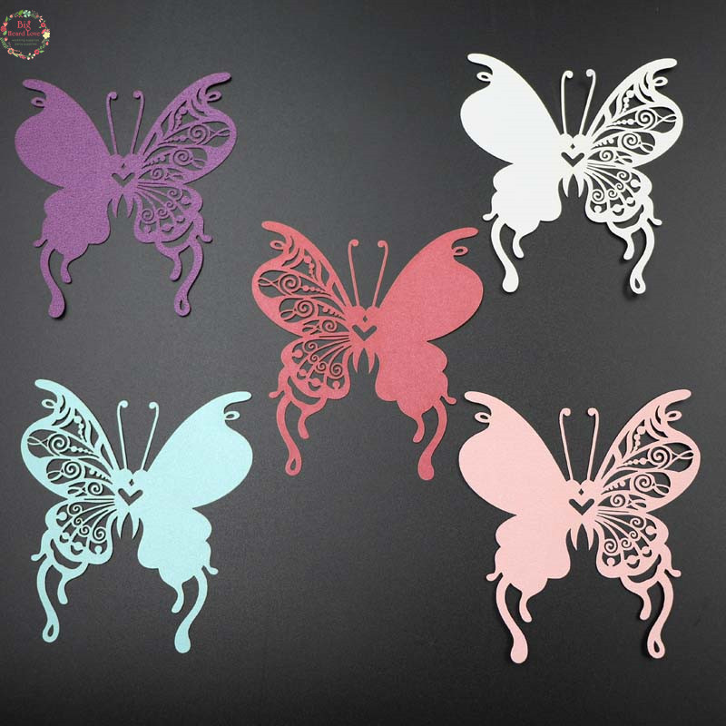 50pcs DIY Place Card <font><b>butterfly</b></font> <font><b>Cups</b></font> Glass Wine Wedding Name Cards Laser Cut Pearlscent Paper Cards <font><b>Birthday</b></font> Party Decoration