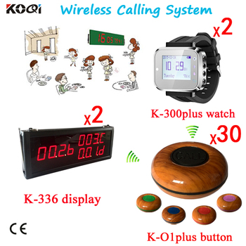 Table Paging System Display +Watch Pager+ Waterproof Buzzer (2 Display 2 Wrist Pager Watch 30 call button)