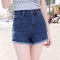 2016 verão new denim shorts mulheres shorts de cintura alta soltos grandes estaleiros fina burr perna larga feminina casuais Jeans curto S2081