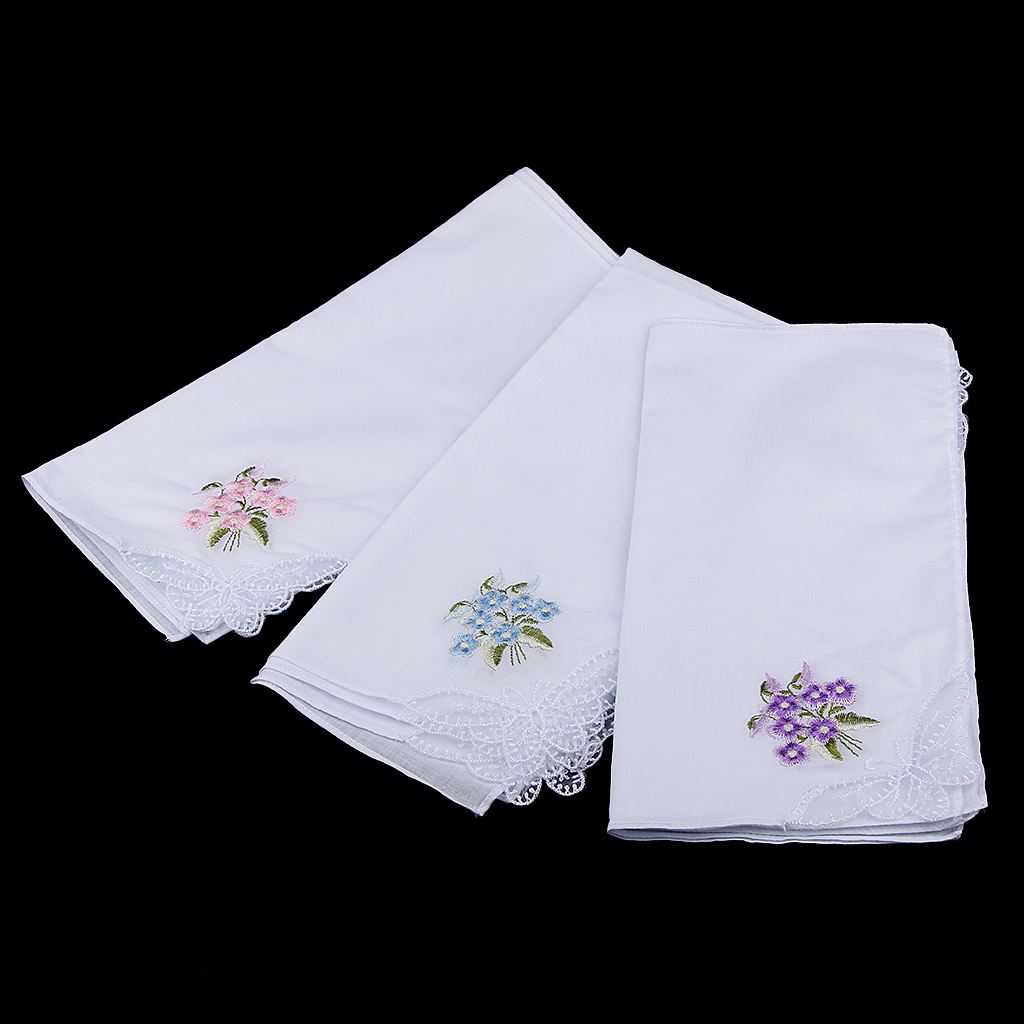 12 PCS Flower Embroidery Lace 100% Cotton Handkerchiefs For Women Ladies White Comfy Pocket Floral Hanky For Women