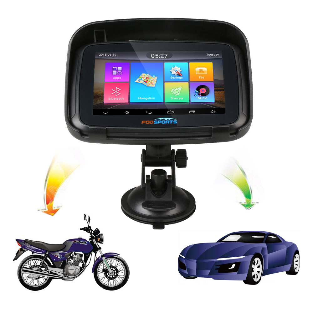 Fodsports 5 pouces Moto GPS Navigation étanche Android WIFI Bluetooth GPS navigateur voiture Moto GPS IPX7 1G RAM 16G ROM