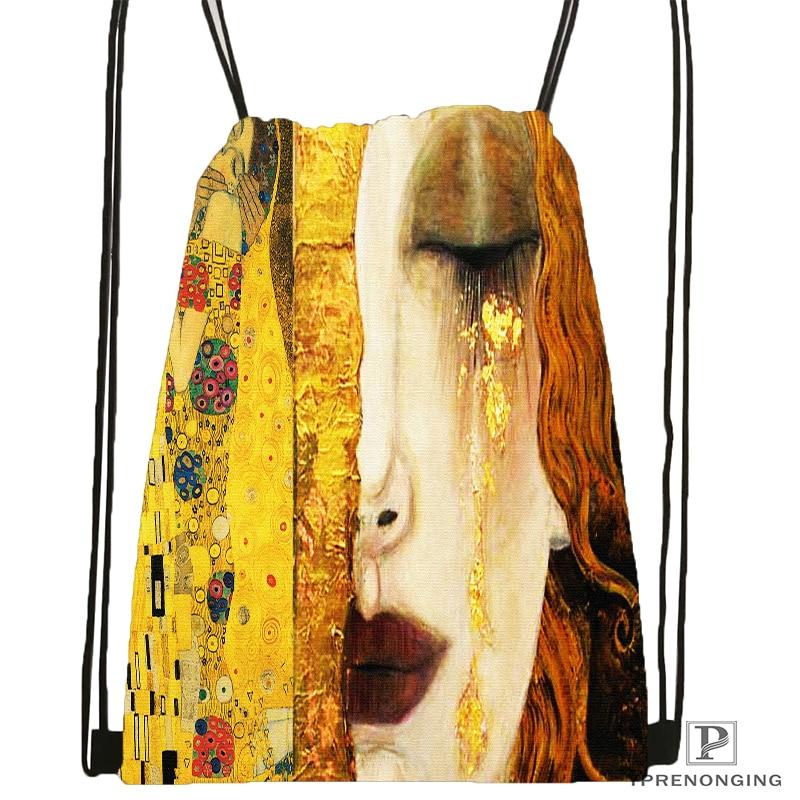 Custom Artists Gustav Klimt Drawstring Backpack Bag for Man Woman Cute Daypack Kids Satchel Black Back