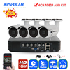 KRSHDCAM 4CH CCTV System 1080P AHD 1080N CCTV DVR 4PCS 3000TVL Waterproof Outdoor Security Camera Home