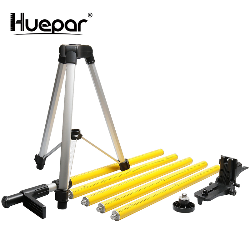 """Huepar 12 Ft./3.7m Laser Tripod Telescoping Pole with 1/4 Inch by 20 Inch Laser Mount for Rotary Included LP36 & 5/8"""" 11 Adapter