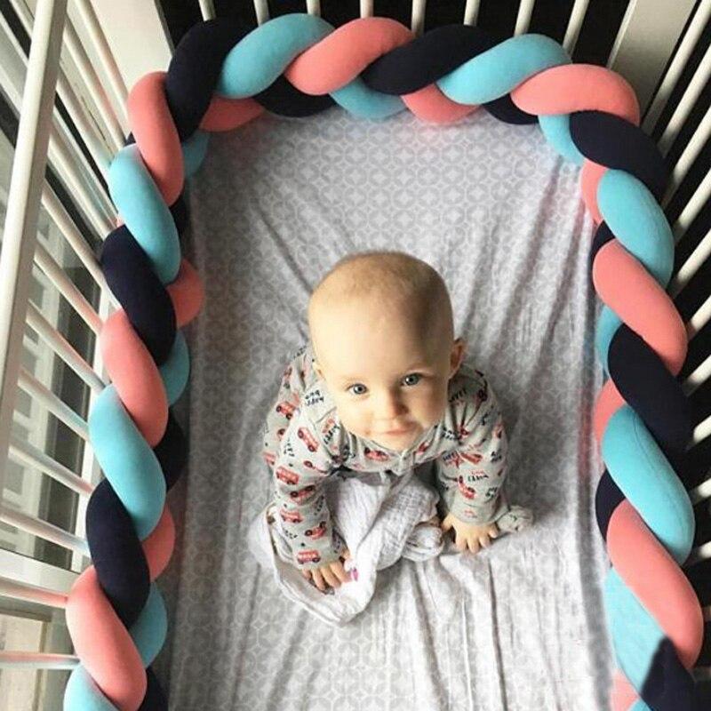 Hell Minimalismus Baumwolle Baby Bettwäsche Krippe Stoßstangen Kreative Geflochtene Lange Knoten Ball Kissen Schutz Kissen Neugeborene Baby Room Decor Und Ein Langes Leben Haben. Stoßstangen Baby Bettwäsche