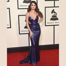 24e6ca033a9 Selena Gomez 2016 azul marino lentejuelas sirena celebridad vestidos largo  alfombra roja vestido de espalda cruzada