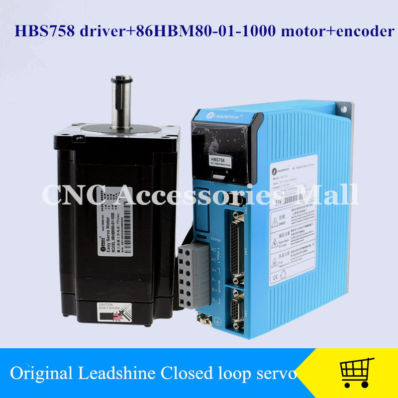 CNC Leadshine Closed Loop Hybrid Servo Drive Kit HBS758 Driver + 86HBM80-01-1000 Motor + encoder 2 phase 8 5n m closed loop stepper servo motor driver kit 86j18118ec 1000 2hss86h cnc machine motor driver