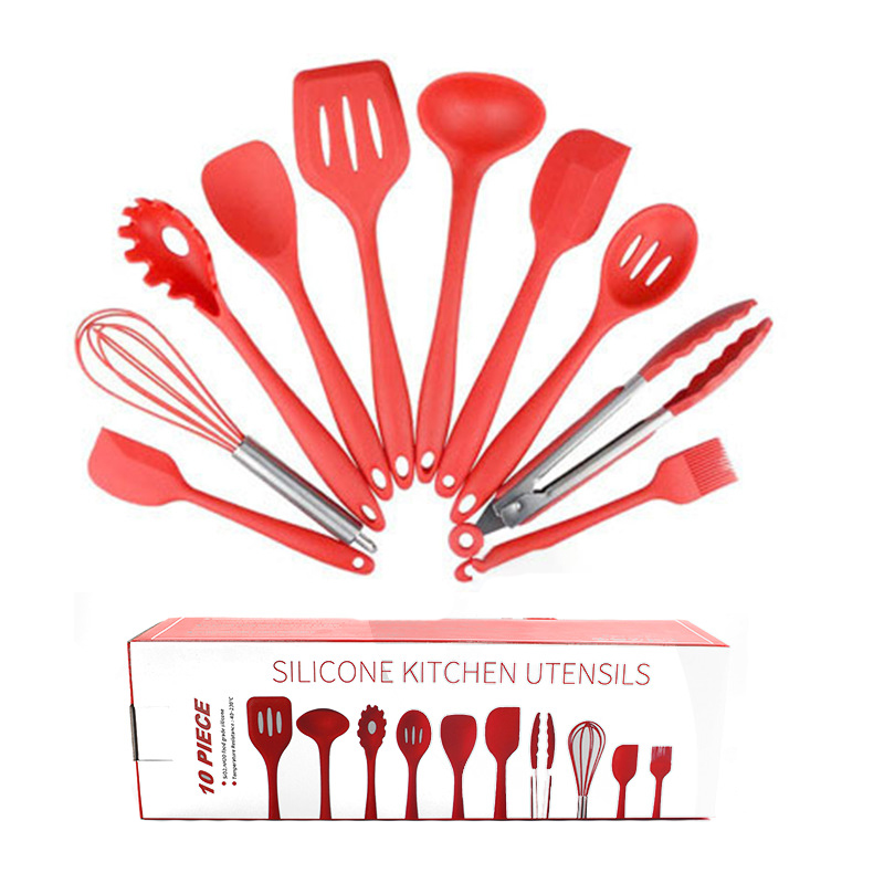 10PCS Kitchen Silicone Utensils Set Non-stick Cooking Spoon Spatula Ladle Egg Beaters Dinnerware Cooking Tools Accessories